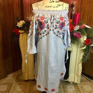 Zara Embroidered Off Shoulder Linen Dress